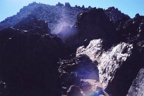 View of blasted rock and...