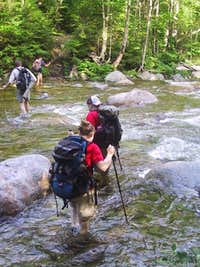 Crossing Franconia Brook.<br />