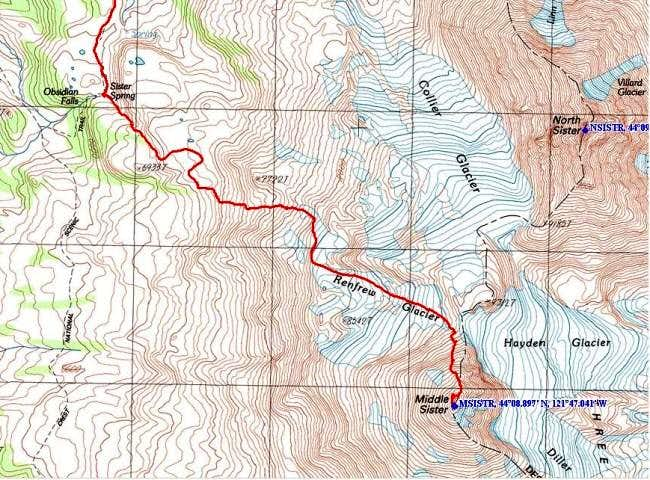 Topo of the upper route from...