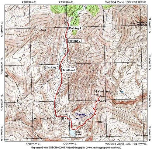 This TOPO shows the route to...