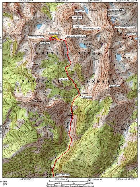 "Topo of the route on ""Booth..."