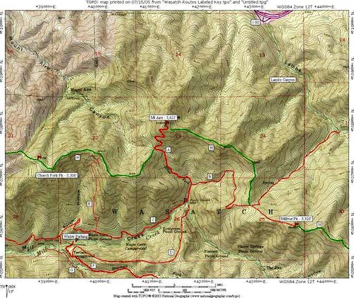Mt Aire Routes Overview Map...