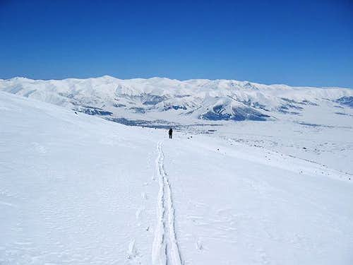 Ski touring on Mt. Aragats