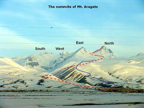 The routes up Mt. Aragats...
