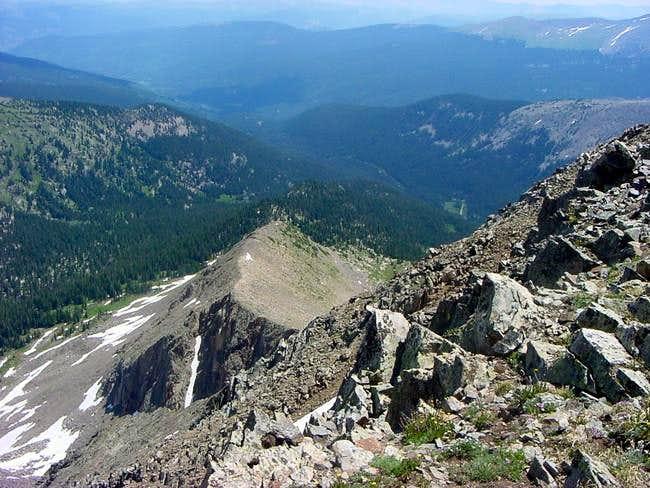 Looking down the east ridge...