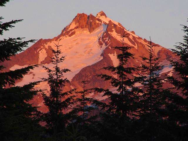 Sunset glow off Mount...