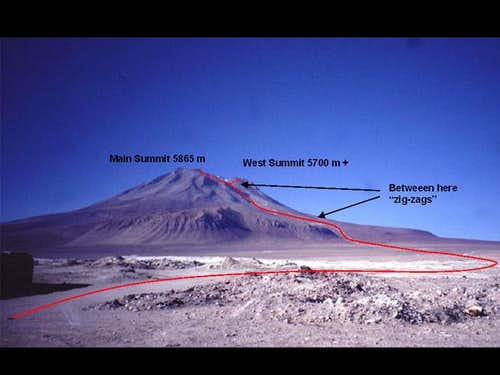 The route up Volcan Ollague...