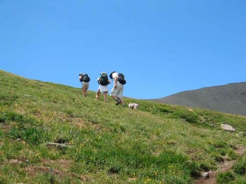 Hiking up the gentle slopes...