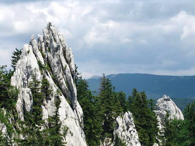 Ljuska area in Bijele stijene. View of Bjelolasica mountain