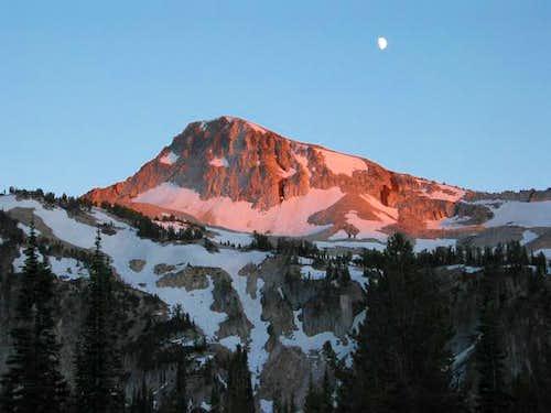 Eagle Cap and moon at dusk...