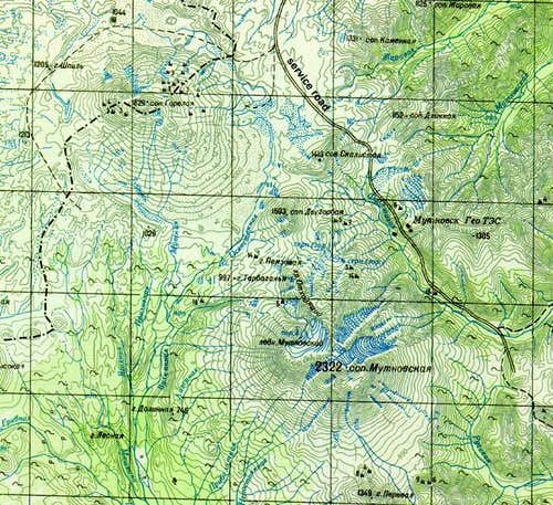 Map of Gorely and Mutnovsky...