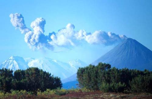 Karymsky erupting ash every...