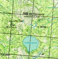 A topographic map of Karymsky...