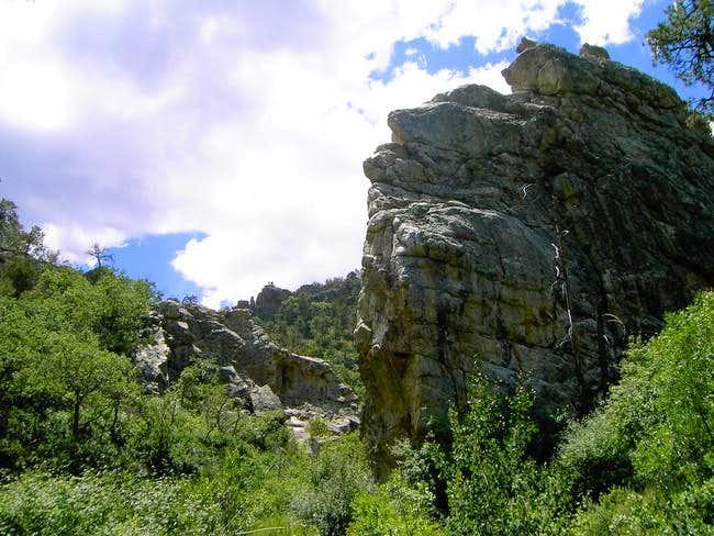 A large outcropping above the...