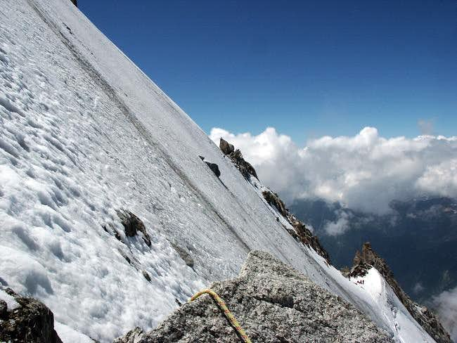 Above the bergschrund on the...
