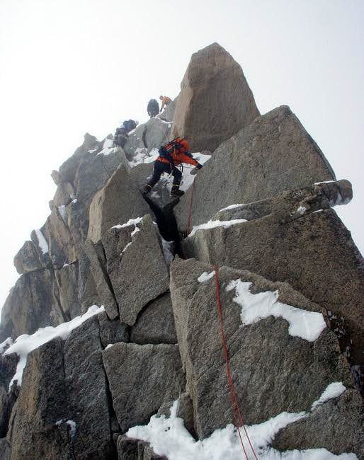 First rappel point on...