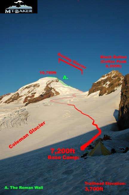 The route to the summit from...