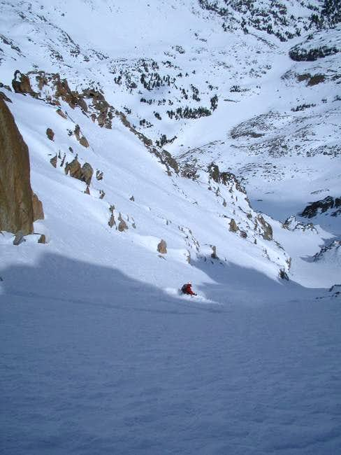 Skiing the couloir that we...