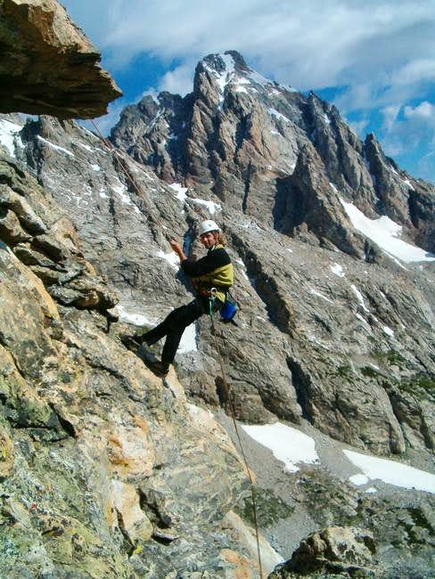 The upper rappel over the...