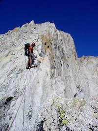 Derek leading up the west ridge