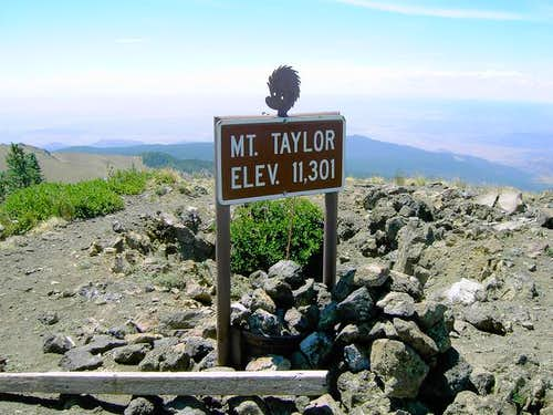 The summit marker from the...
