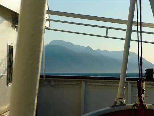 Ferry approaching Peljesac peninsula and Sveti Ilija summit in the background