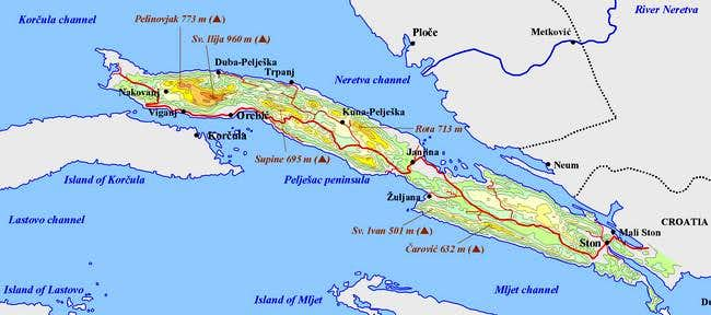 Map of Peljesac peninsula
