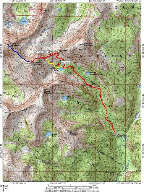 Topographic map of routes on...