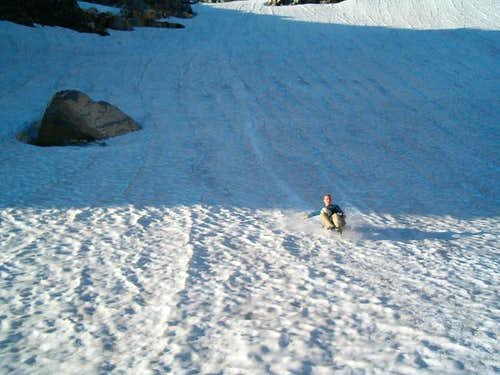 Descending the snowfield to...