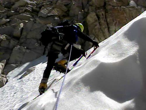 Climbing in Feather Couloir