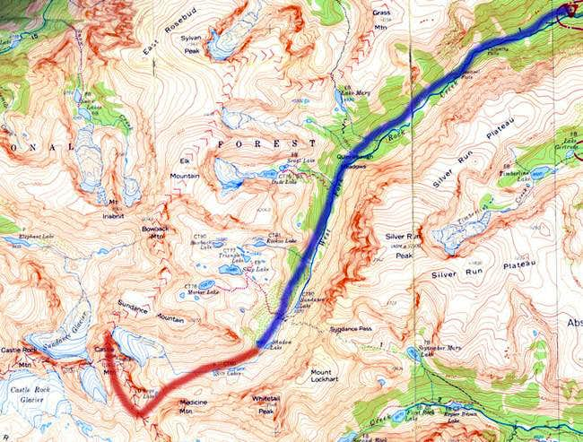 Route to Castle Mountain via West Fork
