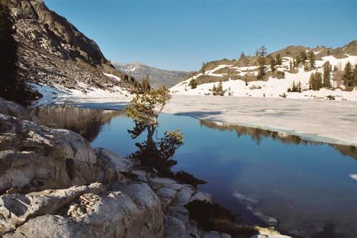 Half frozen Ediza Lake on...