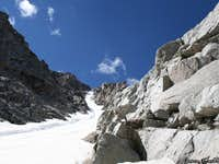 Upper half of the snow couloir