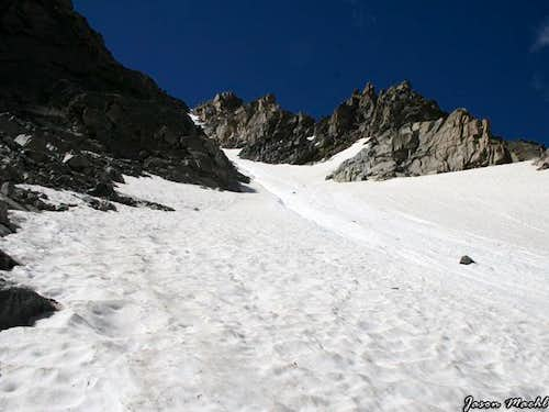The snow couloir just before...