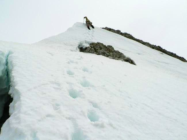 The snow cornice at the top...
