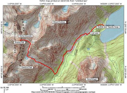 About 7-7.5 miles roundtrip,...