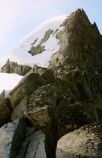 Looking up at the crux pitch