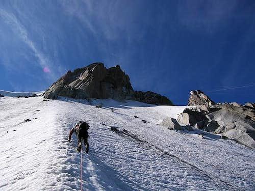 Climbing the ice ramp towards...