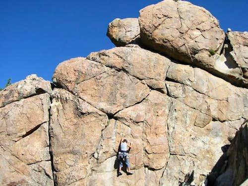 Climber on Medicine Man (5.7)...
