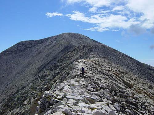 Descent of the summit ridge....