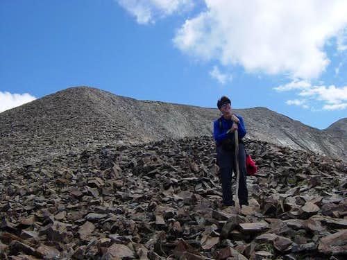 Below the summit ridge. This...