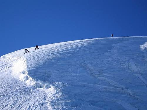 Climbing ice slopes above the...