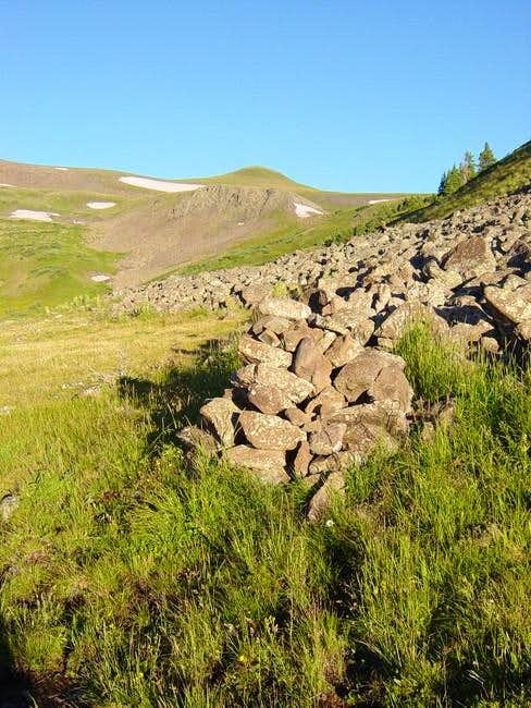 A cairn on the trail to...
