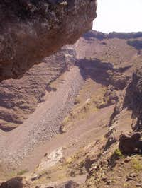 The south wall of the crater.