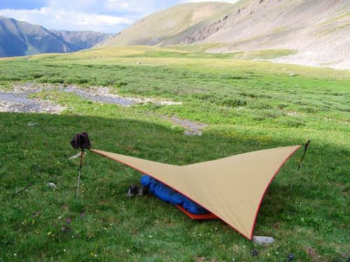 Our camp and tarp looking...