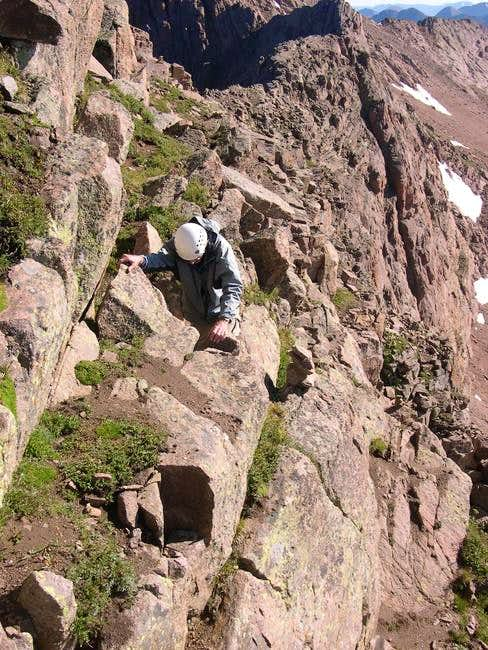 Climbing up the ledges on...
