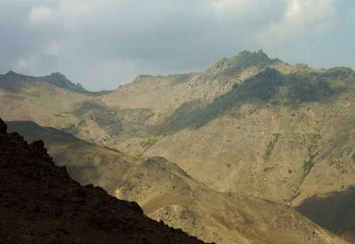 Alvand peak (right) and...