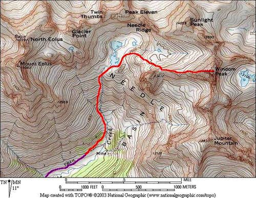 Red: West Ridge route (please...