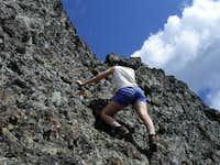 Sara climbing the summit...
