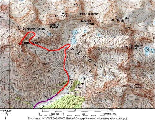 Red: Northeast Ridge Route on...
